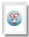 Spectacle Owl Wall Art Print-print, art, wall art, wall, baby, child, boy, girl, love, owl, watercolour, watercolor