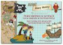 Ahoy! Pirate Party Invitation-party, invitation, blue, boy, celebrate, celebration, invite, boyish, masculine, baby, pirate