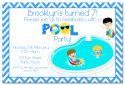 Pool Party Boy Themed Party Invitation-party, invitation, boy, celebrate, celebration, invite, pool, swim