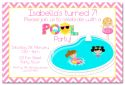 Pool Party Girl Themed Party Invitation-party, invitation, girl, celebrate, celebration, invite, pool, swim