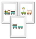 Set of 3 Wall Art Prints - Train-train, balloon, inspiration, inspirational, print, art, wall art, wall, boy, birth, gift, girl, baby
