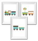 Set of 3 Wall Art Prints - Train-train, balloon, inspiration, inspirational, print, art, wall art, wall, boy, birth, gift, girl, baby