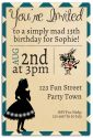 Mad Hatter & Alice Inspired Party Invitation-party, invitation, girl, celebrate, celebration, invite, teen, preteen, tween, alice, alice in wonderland, mad hatter, hatter