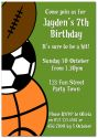 Sports Mad Party Invitation-party, invitation, blue, boy, celebrate, celebration, invite, boyish, masculine, baby, sport, rugby, football, soccer, basketball
