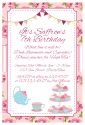 Vintage High Tea Themed Party Invitation-party, invitation, girl, celebrate, celebration, invite, slumber, sleepover, pamper, hightea, high tea, spa, makeover, sleep over, make over