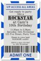 Boy's VIP Ticket Party Invitation-party, invitation, blue, boy, celebrate, celebration, invite, rocker, rock, star, celebrity, vip, ticket, star